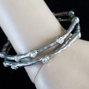 Vintage Hammered Silvertone Bangle Bracelet Set